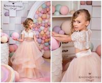 ingrosso bei vestiti da partito rosa-Abiti da ragazza di fiore in pizzo a due pezzi in pizzo rosa per bambini Abiti da spettacolo per bambini a maniche corte