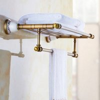 Wholesale Towel Hanger Hook - Luxury Wall Mount Paper Towel Holder Bathroom Antique Brass Bath Hardware Towel Hanger Set Rack Bar Paper Holder Shelf Hook Bathroom Accesso