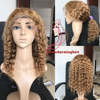 Wholesale Blonde Curly Lace Front Human - Color #27 Honey Blonde Human Hair Full Lace Wig With Baby Hair water wave curly Virgin Lace Front Human Hair Wigs
