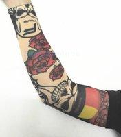 Wholesale Stockings Tattoo Design - atoo stocking 8 Pcs New mixed 100%Nylon Elastic Fake Temporary Tattoo Sleeve Designs Body Arm Stockings Tatoo for Cool Men Women Free shi...