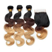 Wholesale Brazilian Virgin Ombre - Human Hair Ombre Body Wave Brazilian Hair Weaves With Lace Closure Three Tone 1B 4# 27# Grade 7A Ombre Virgin Hair Extensions