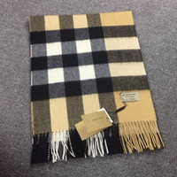 Wholesale Brand Scarves - 200*36 CM 2018 Luxury Brand Designer Large Classic Check Cashmere Scarf Men and Women Winter Warm 100% Cashmere Scarfs and Pashmina Shawls