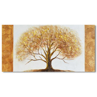 Wholesale autumn tree paintings resale online - Framed Gold BIG Canvas Oil Painting Tree of Life Autumn Pure Hand Painted Modern Wall Decor Art Multi sizes Available Ab123