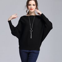 Wholesale Womens Black Cashmere Sweater - Wool Sweaters Women 2017 Autumn Winter Slash neck Batwing Sleeve Solid Knitted Cashmere Sweater Womens Pullovers Black White