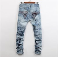 Wholesale Hole Jeans For Men - Men Straight Jeans Classic Denim Trousers 2017 Robin Jeans For Men,High Quality Cotton Jeans Fried Snow Slim Rhinestone Decoration