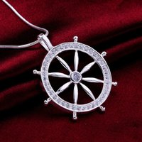 Wholesale Wholesale Pirate Caribbean Party - Fashion 925 Sterling Silver Pendant Necklaces Pirates of the Caribbean Rudder Vintage Charm Necklaces Pendant for women and men