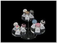 2017 New Fashion Frete Grátis Wholese Pack of 8 3 Tier Round Clear Acrylic Display Stand Show