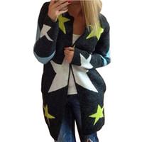 frauen bluse sterne groihandel-Herbst Winter Womans Stern Strickjacke lose Strickpullover Mantel Oberbekleidung Tasche Damen Blusen Tops Gebreide Damen Strickwaren 2018