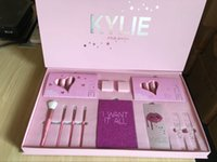 Wholesale Christmas Eyeshadow Palette - kylie cosmetics Kylie Jenner I WANT IT ALL The Birthday Collection Makeup Set Eyeshadow Palette Charming Lip Gloss August Bug Kylie Collect