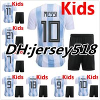 Wholesale Kids Argentina - 2018 World Cup Argentina kids soccer Jerseys MESSI DI MARIA AGUERO DYBALA HIGUAIN ICARDI Russia Camisetas Children football shirt Uniforms