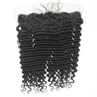 brezilya dalgalı serbest bölüm kapanışı toptan satış-Perulu Bakire Dantel Frontal Kapatma İnsan Saç Derin Dalgalı Brezilyalı Remy İnsan Saç Dantel Cepheler 13 * 4 1B Ücretsiz Bölüm 8