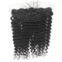 "Wholesale Deep Wavy Virgin Hair - Peruvian Virgin Lace Frontal Closure Human Hair Deep Wavy Brazilian Remy Human Hair Lace Frontals 13*4 1B Free Part 8""-20"""