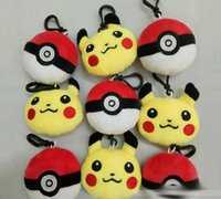 Wholesale Key Ring Mobile Phones - New Poke Pikachu Elf Ball Plush Key Rings Cartoon Action Game Figure Pendant Keychain Cell Mobile Phone Stuffed Keychain Toys Gifts