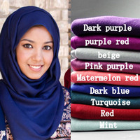 Wholesale Maxi Scarves Jersey Hijab cm Woman Polyester Cotton Jersey Scarf Muslim Head Wraps Solid Plain Hijab Stole Echarpe Foulards