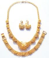 ingrosso braccialetti della farfalla delle donne-Wedding Party Womens 24k oro giallo reale GF ciondolo farfalla collo Chian collana orecchini bracciale 3 pezzi set