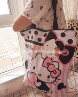 Wholesale Mixed Melodies - Wholesale- 6PCS Kawaii Hello Kitty, Melody, RK bear MIX Canvas Shopping BAG Size 38*35*8CM Canvas Satchel Handbag Shoulder BAG Storage BAG