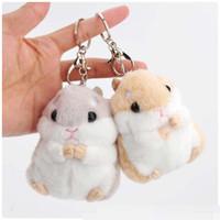 Wholesale Doll Beads - 2017 new Cute hamster Pendant Plush hamster beads adorable girl cute doll ornaments 2 color bag hamster Pendant