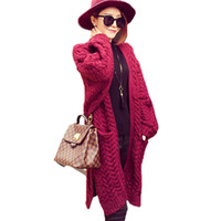 Wholesale Thick Knitwear Women - Wholesale- Split twist loose knit long cardigan women sweater coat retro Long Sleeve autumn winter warm jumper oversize knitwear Sweater