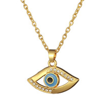 Fashion Cheap Crystal Stone Embedded Religious High Quality Gold Plating Evil Eye Collier pendentif Femme Livraison gratuite