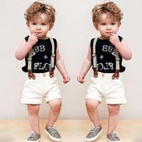 Wholesale Boys 3piece - Whosale Baby summer clothes sets European boys summer jeans sets children handsome black vest shirt + Shorts+strap 3piece set