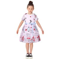 Wholesale Children Military Clothing Wholesale - Summer Dress Girl 2017 Brand Kids Princess Dress Embroidery Characters Kids Dresses for Girls Children Clothing with Sashes