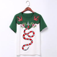 Wholesale Shirt Rivets Women - Wholesale- T shirt women 2016 summer new fashion rivet Swallow Flowers embroidery snake pattern White and green 100% Cotton T-Shirt