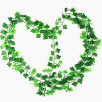 ingrosso piante di plastica edera-2.5m Artificiale Edera Foglia Ghirlanda Piante Vine Fiori Fogliame Finto Home Decor Plastica Fiore Artificiale Rattan Cirro Evergreen
