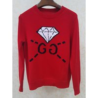 Wholesale Dress 88 - Free Shipping 2017 Red Pullovers Sweater Reqular Long Sleeve Crew Neck Spring Runway Pullovers Brand Same Style Dress G 88