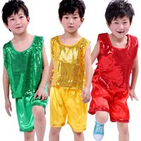 Wholesale Dancing Clothes Jazz - 2017 hot Sell 3color Children 's jazz dance   childern bling bling sequins stage clothing Shiny vest shorts Children 's suits