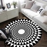 Wholesale Pink Chair Mat - White Black Geometric Round Mat 60 80 100 120 160CM alfombras dormitorio Carpet Deurmat rugs Swivel chair Mats tapis chambre