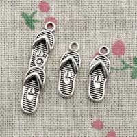 Wholesale Silver Flip Flop Bracelet - 80pcs Charms flip flops slipper 21*8mm Antique Silver Pendant Zinc Alloy Jewelry DIY Hand Made Bracelet Necklace Fitting