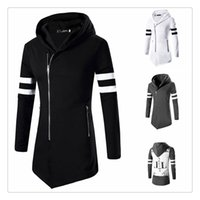 Wholesale Shirt Slim Fit Pocket - T-shirts for Men Hot Sale Oblique Zipper Letter Printing Men's Casual Slim Fit Long Sleeves Hooded Sports T-shirts US Size:XS-L