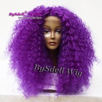 Wholesale Kinky Big Hair Wig - African American Wigs Synthetic Purple Color Big Afro kinky Curly Hair Front Lace Wigs for Black Women Lace Front Wigs