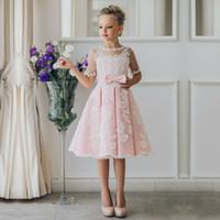 Wholesale Lace Skirt Children - New Arrival Children Skirt White Lace Princess Flower Girl Dresses lace appliques communion dresses girls pageant dresses