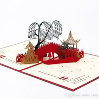 Wholesale happy anniversary gifts - New 3D Pop Up Card Lover on Bridge Happy Valentine Anniversary gift for husband and wife