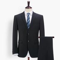 синий костюм серый жених оптовых-Wholesale-  suit wedding suits for men clothing 70% wool slim gentle men blue grey black suits 2pcs set formal jacket + pant groom