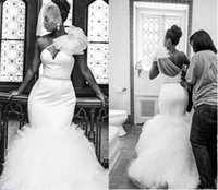 Wholesale One Shoulder Mermaid Wedding - African Gorgeous Mermaid Wedding Dresses 2017 Sexy One Shoulder Sheer Neck Tulle Beaded Bridal Gowns Plus Size Court Train