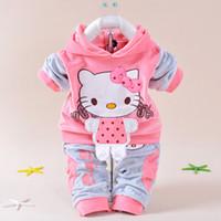 merhaba sporlar toptan satış-Toptan-Perakende Bebek Kız Hello Kitty Giyim Setleri Çocuklar Kadife Takım Elbise Bebek Eşofman Spor Setleri Dış Giyim Karikatür Hoodies Pant Suit