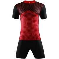Wholesale Short Sleeve Check - Men Soccer kits Jogging Clothing V-neck short Checks sleeve football training jersey sports suit Print Training set 2017