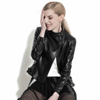 Wholesale Locomotive Fashion Genuine Leather Jacket - Genuine leather coat female short thin section coat 2017 newest autumn slim locomotive sheep leather jacket stand collar