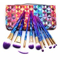 Wholesale Hair Hands Diamonds - 10pcs set Diamond Spiral Makeup Brush Set Professional Makeup Brushes Eyebrow Eyeliner Powder Brushes With Colorful Hand Bag CCA7460 20set