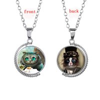 Wholesale Double Sided Sweater - Alice In Wonderland The Cheshire Cat Gem Necklaces Rotating Double-Sided Glass Cabochon Pendants Sweater Chain High Quality