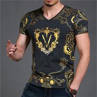 Wholesale Slim Fit Blue Shirts - Best Men T Shirt 2017 Summer Men's Famous Brand T-Shirt Fashion Slim Fit Luxury T Shirt Plus Size Short-Sleeved V Neck Men's Clothing Tops