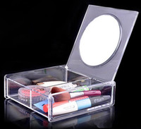 Wholesale Transparent Crystal Box Jewelry Acrylic - Fashion Square 2 space Transparent Crystal Storage Box makeup Organizer Cosmetic Acrylic Clear Jewelry Display Case with Mirror 120pcs