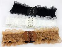 Wholesale Korean Corsets - Wholesale- Korean Style Ladies Girls Lace Faux Leather Elastic Stretch Corset Waist Belt BLTLL0008