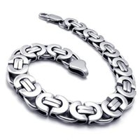 "Wholesale Silver Tone Jewelry Box - 8.66"" 10.8MM New Stylish Men Silver Tone Stainless Steel Bracelet Byzantine Box Men Boy Chain Bracelet Jewelry"