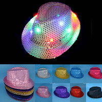 Wholesale Lighted Wholesale Fedora - 10 Colors LED Jazz Hats Flashing Light Up Led Fedora Trilby Sequins Caps Fancy Dress Dance Party Hats Unisex Hip Hop Lamp Luminous Hat