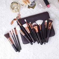 Wholesale Powder Clutch - IN Stock 15 piece Luxurious Makeup Brushes Set + Brush Clutch Bag Powder Foundation Brush face and eye cosmetics brushes kit