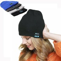 Wholesale Iphone Hands Free Headphones - Bluetooth Beanie Hat Music Earphone Cap Soft Winter Hands Free Washable Knitted Wireless Headset Headphones With Stereo Ear Buds Speaker Mic