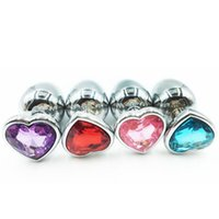 Wholesale Men S Metal Anal Toys - New Styles S M L 3 sizes Metal Heart-shaped Colorful Jeweled Anal Plug Masturbation Sex toys for men and women RY-013-015